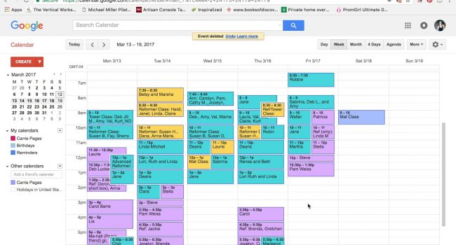 Using Google Calendar for your Pilates studio schedule. (3 mins) graphic