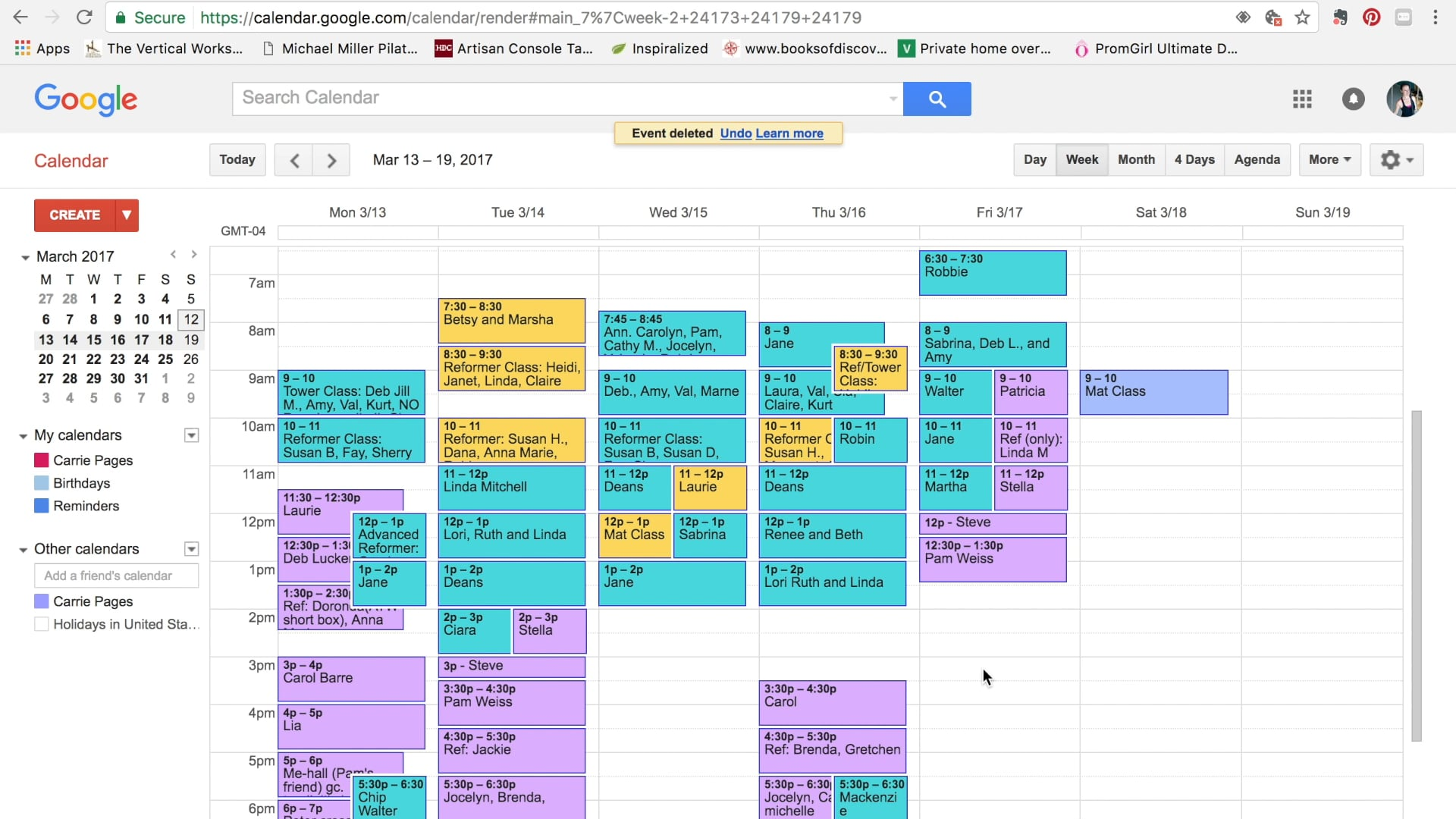 Using Google Calendar for your Pilates studio schedule. (3 mins)